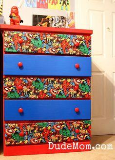 A Dude room update featuring a @marvel fabric dresser makeover. #DIY #Dudemomlife #boymoms