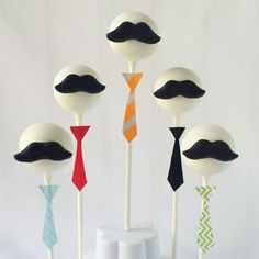 Perfect cake pops for Fathers Day Add a mustache to a round pop then a tie made from washi tape to the stick Made by Painted and Sprinkled Mustache Cake Pops, Mustache Party, Fathers Day Cupcakes, Fathers Day Cake, Baby Shower For Men, Dad Cake, Little Man Party, 70th Birthday Parties, Birthday Ideas