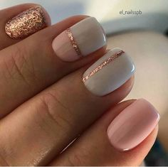 Grey, pink and rose gold glitter color block nails - https://www.luxury.guugles.com/grey-pink-and-rose-gold-glitter-color-block-nails/