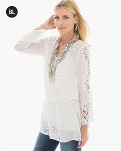 Chico's Tie-Waist Lace Tunic #chicos
