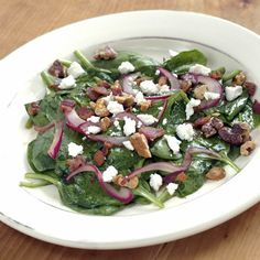 Warm Spinach Salad with Bacon, Walnuts & Goat Cheese - FineCooking