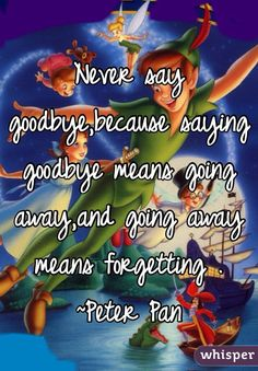 Never say goodbye,because saying goodbye means going away,and going away means forgetting . ~Peter Pan