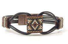 SINGLE WRAP LEATHER Bracelet-Miyuki Delicas-Peyote Stitch Tubes-Southwest-Boho-Chic-Hippie-Black Leather Bracelet-Leather Cuff-(SW7) by CinfulBeadCreations on Etsy