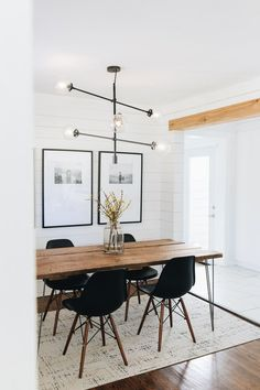Mar 2020 - I searched far and wide for a Mid-Century Chandelier that would allow space for a centerpiece and be high enough that it wouldn't block our frames. Dining Table Design, Modern Dining Table, Dining Room Table, Dining Rooms, Dining Area, Kitchen Dining, Mid Century Modern Dining Room, Mid Century Dining Table, Mid Century Modern Lighting