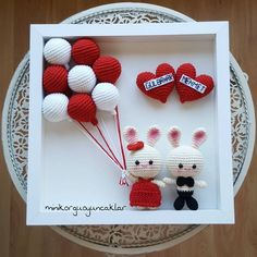 Wedding frame/ Personalized Valentines Day Gift/ Bigli Migli Wedding gift/ Red and White/ Unique Wedding Gift Ideas/ Gift for Couple - Her Crochet Bunny Crochet, Easter Crochet, Cute Crochet, Crochet Crafts, Crochet Dolls, Crochet Projects, Amigurumi Patterns, Crochet Patterns, Valentine Day Gifts
