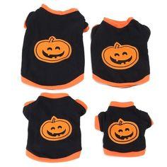 Halloween Style Pumpkin Pet Dog Puppy Clothes T-shirt Apparel Fancy Dress Jacket #PuppyClothes