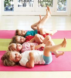Li'l Posers: Yoga for Kids | workingmother.com- Bicycle Pose On your mat, lie on your back with arms close to your body and palms facing down. Raise your legs so they're perpendicular. Cycle your legs in midair as if you're riding a bike. Then lower your feet until your heels are just off the floor. Bring your feet back up and repeat, breathing evenly throughout.