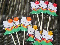Hello Kitty Hawaiian Coloring Pages : Hawaiian hello kitty luau treat bags diy giovannia's 1st birthday