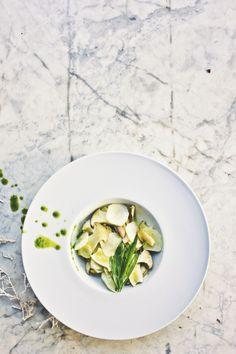 Salad of Raw Mushroom, Sunchoke, Tarragon, Chive Oil | Princess Tofu