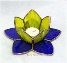 Items similar to Stained Glass Candle Holder Yellow and Blue on Etsy Stained Glass Light, Making Stained Glass, Stained Glass Flowers, Stained Glass Designs, Stained Glass Panels, Stained Glass Projects, Stained Glass Patterns, Glass Candle Holders, Soy Candle
