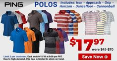 Our Cost Is Your Cost Deal : Assorted Ping Golf Polos are only $17.97! https://www.golfdiscount.com/search?q=ping+polos&utm_source=pinterest&utm_medium=referral&utm_campaign=ocyc_ping_polos-9-12