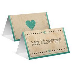 Tischkarten zur Hochzeit - Vintage Herz in Mintgrün #tischkarte #platzkarte #hochzeit #wedding #tischkarten #platzanweiser #vintage #herz #mintgrün