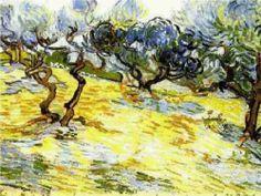 Olive Trees Bright Blue Sky - Vincent van Gogh