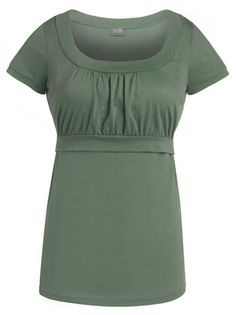 """Based on customer feedback, we have updated our Empire scoop neck nursing top.  The top is now 1"""" longer and the empire seam placement is slightly lower.  We have also updated our color pallet to include sage (shown), periwinkle and berry."""