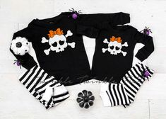 Cute Skull Girl Black and White Striped Pajamas - Halloween Pajamas - Halloween Clothing by TwinkleTwinkleTees on Etsy Halloween Pregnancy Shirt, Halloween Pajamas, Pregnant Halloween, Pregnancy Shirts, Halloween Outfits, Mommy And Son, Mommy And Me Shirt, Bachelor Party Shirts, Groom Shirts