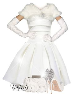 """""""Winter Wedding"""" by cavell ❤ liked on Polyvore featuring Matthew Williamson, Badgley Mischka, women's clothing, women, female, woman, misses and juniors"""