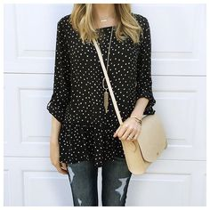 Polka dot top, ripped jeans, black sandals