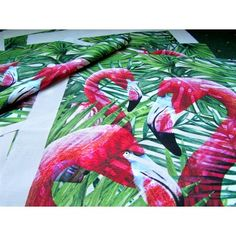Square Decorative cushion Cover or ready Fabric Panel Flamingos On Tropical Leaves Ready Cushion Cover Panel Cotton DIY Craft Panel Flamingo Pattern, Flamingo Fabric, Flamingo Print, Cushion Pads, Cushion Covers, Leaf Background, Leaf Shapes, Tropical Leaves, Fabric Panels