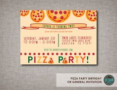 30 Best Pizza Party Invites Images Birthday Ideas