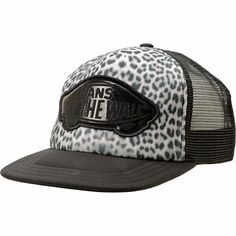 926d5384936 Hit the beaches in some wild style in the Vans Beach Girl Snow Leopard  print trucker hat for girls. The Beach Girl trucker hat features a  lightweight