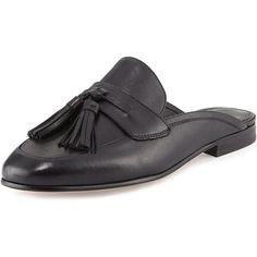 Sam Edelman Paris Leather Tassel Mule ($160) ❤ liked on Polyvore featuring shoes, black, strap shoes, flat pumps, sam edelman shoes, black flat shoes and sam edelman flats