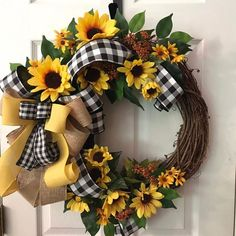 Everyday Wreath, Sunflower Wreath, Everyday Grapevine Wreath, Farmhouse Wreath, Buffalo Check Wreath - Lilly is Love Spring Door Wreaths, Deco Mesh Wreaths, Summer Wreath, Holiday Wreaths, Winter Wreaths, Ribbon Wreaths, Etsy Wreaths, Easy Fall Wreaths, Wreath Fall