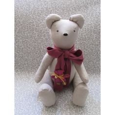 This sweet Teddy Bear would make a beautiful addition to any room as a decoration or make a wonderful gift for someone special. Jointed arms and legs. Christening, Arms, Presents, Teddy Bear, Beige, Handmade Gifts, Fabric, How To Make, Animals