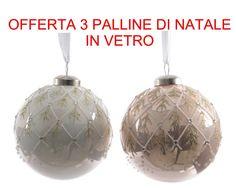 Offerta 3 Palline In Vetro Perla/Bianco Assortite 8 Cm