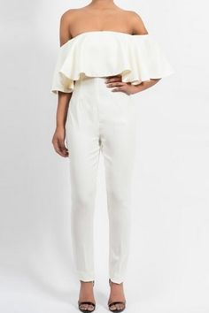 White Ruffle Off Shoulder Sexy Jumpsuit 01b6593a7