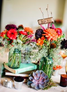 flowers in mason jars centerpiece