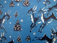 LOT of Holiday Christmas gift wrapping for ART crafts embellishing greeting cards journaling collaging Adorable blue, white and black vintage reindeer gift wrap.Adorable blue, white and black vintage reindeer gift wrap. Christmas Deer, Retro Christmas, Vintage Holiday, Christmas Holidays, Christmas Gifts, Holiday Crafts, Vintage Christmas Wrapping Paper, Christmas Gift Wrapping, Christmas Graphics