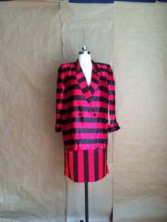 stunning vintage 1980's 2 piece suit chunky stripe carnival style outfit set red and black wide stipe jacket skirt set by yellowjacketvintage on Etsy