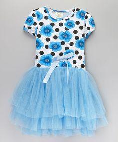 Look at this #zulilyfind! Blue Floral Bow Tutu Dress - Infant, Toddler & Girls by Sweet Cheeks #zulilyfinds