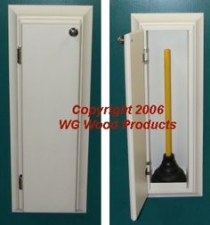 """Amazon.com: (TP-9) Recessed In the wall Bathroom Toilet plunger cabinet, inset in the wall between studs, Solid Wood, includes 4 ½"""" force cup style plunger! Enamel finish or stain finish in your color choice, or unfinished also! Replace those ugly rusting metal units with a solid wood custom product!: Home & Kitchen"""