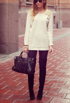 studded sweater with leggings and over the knee boots bmodish