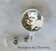 Christmas Cat Badge Reel Retractable Holder Belt Clip ID RN Vet Doctor Kitty  #Handmade #Retractable