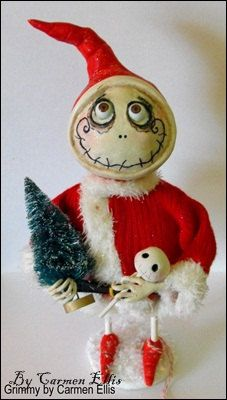 Grimmy Santa Christmas art doll made to order by SpookyHollow