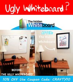 Hide your Ugly Whiteboard with The Hidden Whiteboard.  Perfect for homeschool and small office use or anywhere you want to easily transform your space.  Use Coupon Code: CRAFTY10 for 10% Off.
