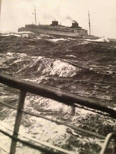 """raurrie: """"Europa in heavy seas. Taken from the deck of her sister Bremen as they pass in Mid-Atlantic. Ss Normandie, Great Lakes Ships, Merchant Navy, Stormy Sea, Bali, Navy Ships, Ways To Travel, Submarines, Battleship"""