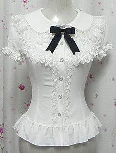 Candy Princess White Chiffon Short Sleeve Sweet Lolita Blouse – RUB p. Moda Lolita, Lolita Mode, Victorian Blouse, Victorian Fashion, Vintage Fashion, White Lace Shorts, Vintage Mode, White Chiffon, Princess Style