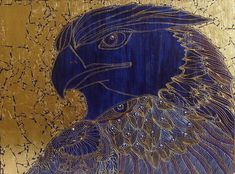 graphic acrylic picture bright contrast of gold and blue bird
