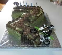 Homemade Motorcross Birthday Cake: I made this Motorcross birthday cake for my son's birthday. He loves his motorbike and he had just got a new one for his birthday. I made the cake 7th Birthday Cakes, Homemade Birthday Cakes, Homemade Cakes, Diy Birthday, Motorcross Cake, Motorcycle Cake, Dirt Bike Cakes, Truck Cakes, Number Cakes