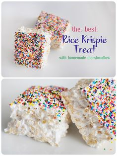 Meredith's Recipes: Meredith's *Perfect* Rice Krispie Treats….seriously like b… Meredith's Recipes: Meredith's *Perfect* Rice Krispie Treats….seriously like biting into a cloud Just Desserts, Delicious Desserts, Dessert Recipes, Yummy Food, Yummy Treats, Sweet Treats, Homemade Rice Crispy Treats, Homemade Rice Krispies, Cake Candy