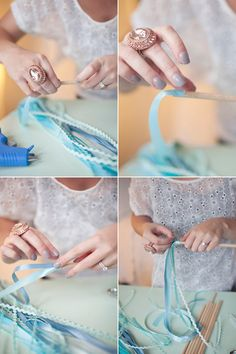"""Ribbon wands (for parties, weddings, costumes) for the day i say """"i do"""" Ribbon Wands, Diy Ribbon, Wedding Wands, Diy Wedding, Wedding Flowers, Wedding Ideas, Baguette, Real Rose Petals, Diy Wand"""
