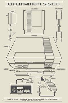 Classic Console Blueprints Designs by Adam Rufino NES