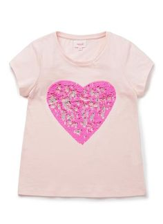 100% Cotton Jersey Tee. Short sleeve, jersey t-shirt. Features flip sequin heart. Available in colours shown.