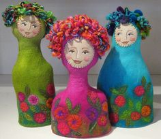 these just make me smile, so bright and happy #felt #dolls #art_dolls