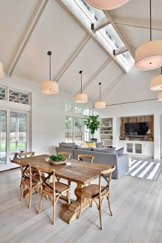 example of ceiling with windows up high. THIS WAS THE IMAGE I WAS SEARCHING FOR IT TODAY WITH MULTIPLE PENDANTS. I'M NOT SURE IT WORKS… AND MAYBE YOU SHOULD JUST HAVE THREE PENDANTS AS WELL AS PENDANTS OVER THE ISLAND? THEY NEED TO WORK TOGETHER, HOWEVER.