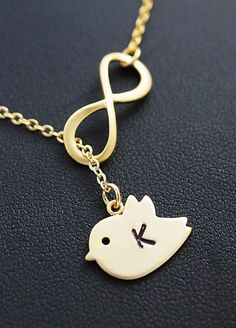 Infinity with cute bird Personalized Necklace