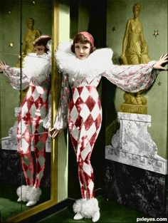 """★ Harlequin costume 1933 worn by Claudette Colbert in """"Tonight is Ours"""""""